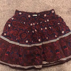Forever 21 Burgundy and Navy Printed Skirt Sz XS